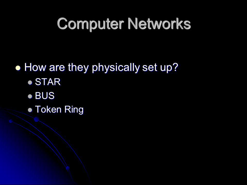 Computer Networks How are they physically set up STAR BUS Token Ring