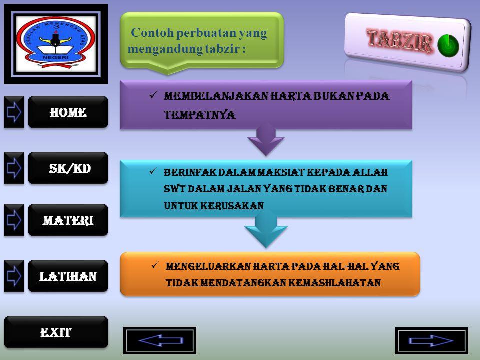 Contoh perbuatan yang mengandung tabzir :