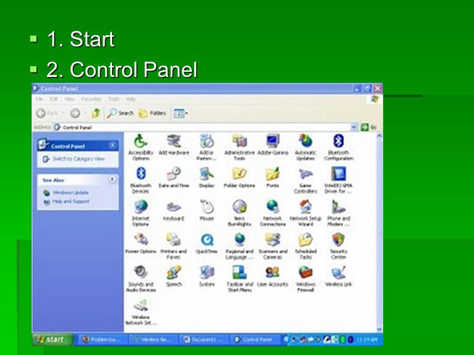 1. Start 2. Control Panel