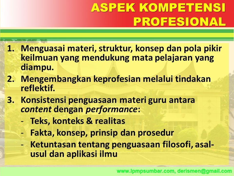 ASPEK KOMPETENSI PROFESIONAL
