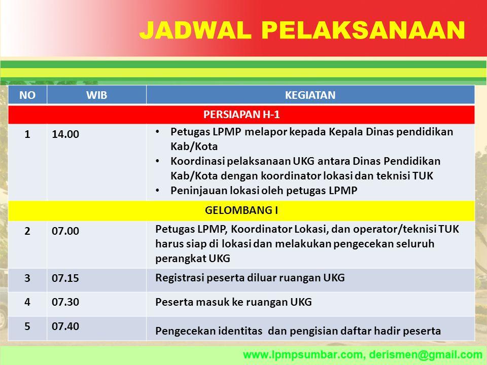 JADWAL PELAKSANAAN NO WIB KEGIATAN PERSIAPAN H-1 1 14.00 GELOMBANG I 2