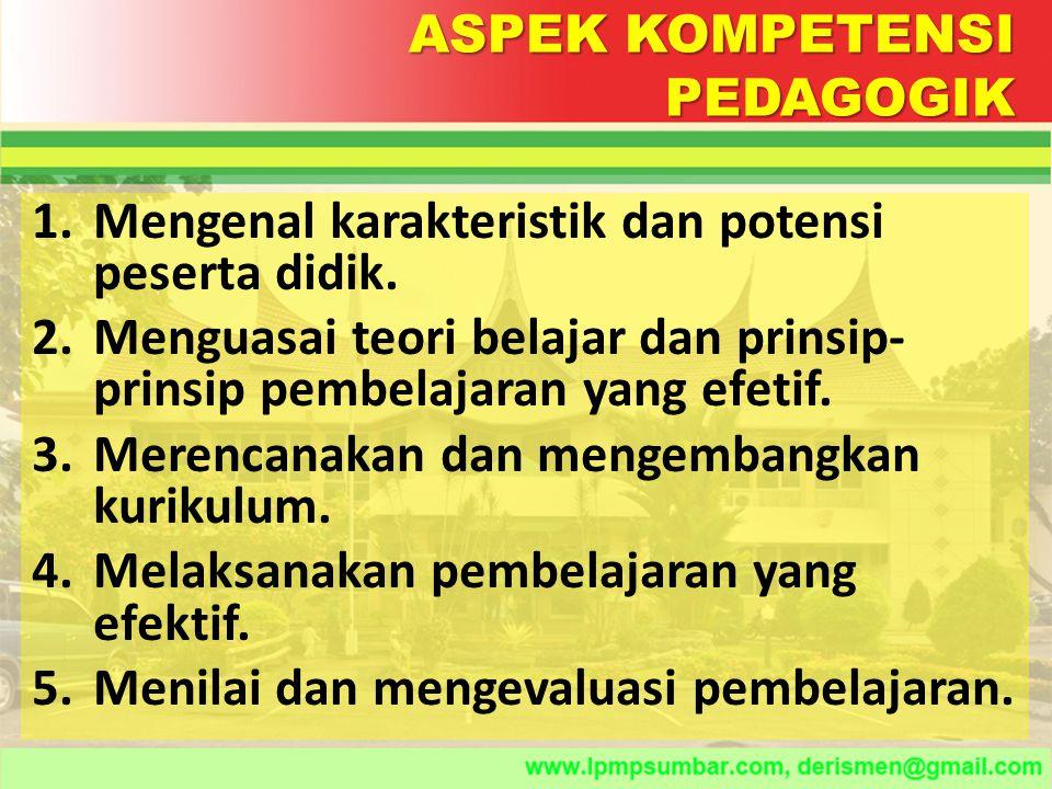 ASPEK KOMPETENSI PEDAGOGIK