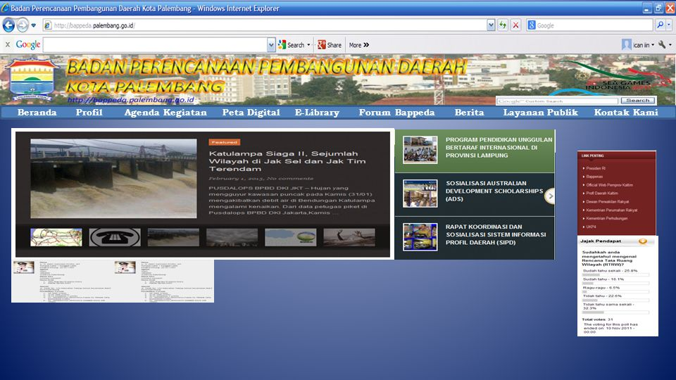 Beranda Profil Agenda Kegiatan Peta Digital E-Library Forum Bappeda Berita Layanan Publik Kontak Kami