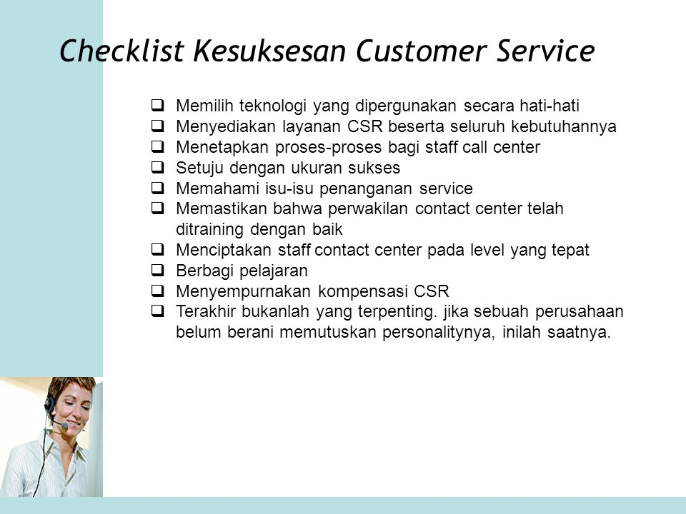 Checklist Kesuksesan Customer Service