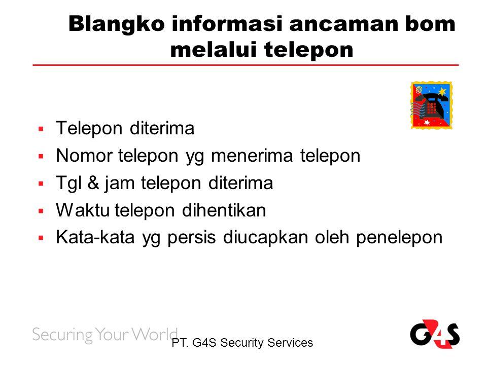 Blangko informasi ancaman bom melalui telepon