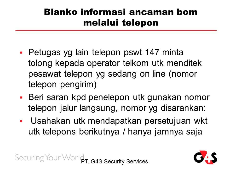 Blanko informasi ancaman bom melalui telepon