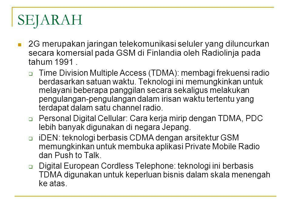 SEJARAH 2G merupakan jaringan telekomunikasi seluler yang diluncurkan secara komersial pada GSM di Finlandia oleh Radiolinja pada tahum 1991 .