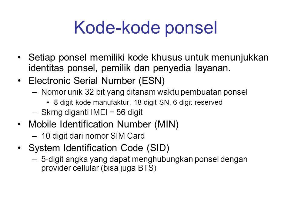 Kode-kode ponsel Setiap ponsel memiliki kode khusus untuk menunjukkan identitas ponsel, pemilik dan penyedia layanan.