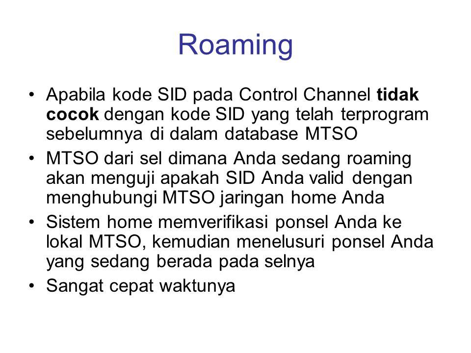 Roaming Apabila kode SID pada Control Channel tidak cocok dengan kode SID yang telah terprogram sebelumnya di dalam database MTSO.