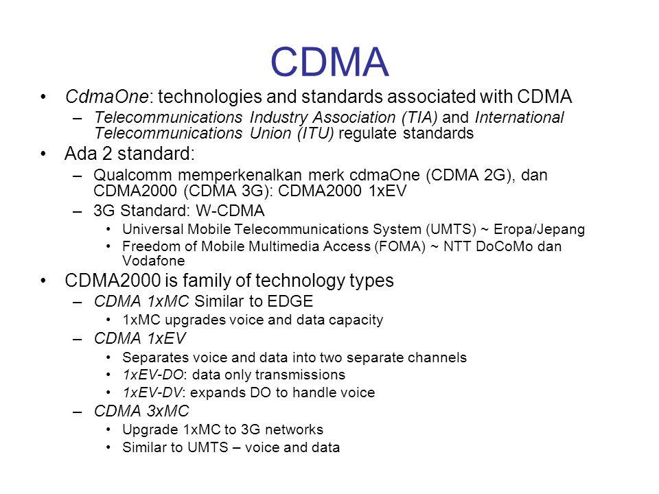 CDMA CdmaOne: technologies and standards associated with CDMA