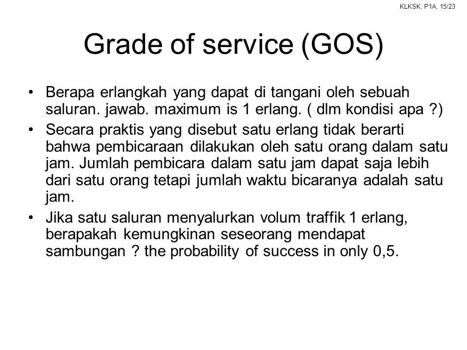 Grade of service (GOS) Berapa erlangkah yang dapat di tangani oleh sebuah saluran. jawab. maximum is 1 erlang. ( dlm kondisi apa )