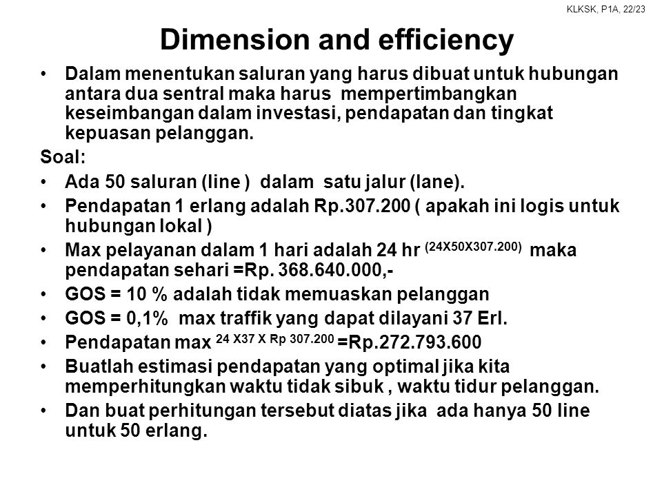 Dimension and efficiency