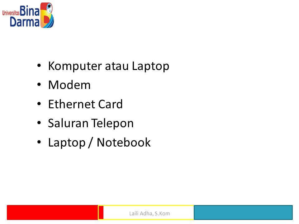 Komputer atau Laptop Modem Ethernet Card Saluran Telepon