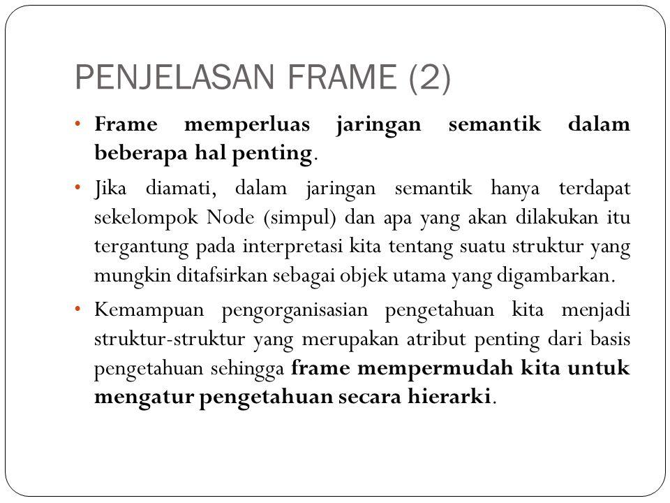PENJELASAN FRAME (2) Frame memperluas jaringan semantik dalam beberapa hal penting.