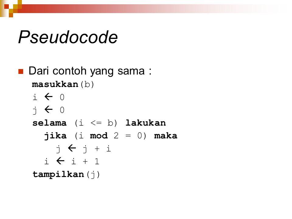 Pseudocode Dari contoh yang sama : masukkan(b) i  0 j  0