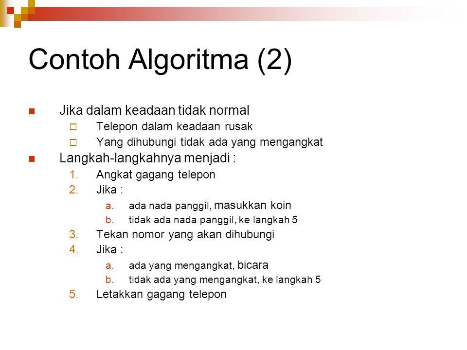 Contoh Algoritma (2) Jika dalam keadaan tidak normal