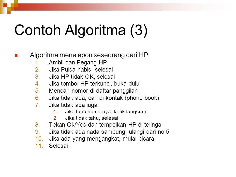 Contoh Algoritma (3) Algoritma menelepon seseorang dari HP: