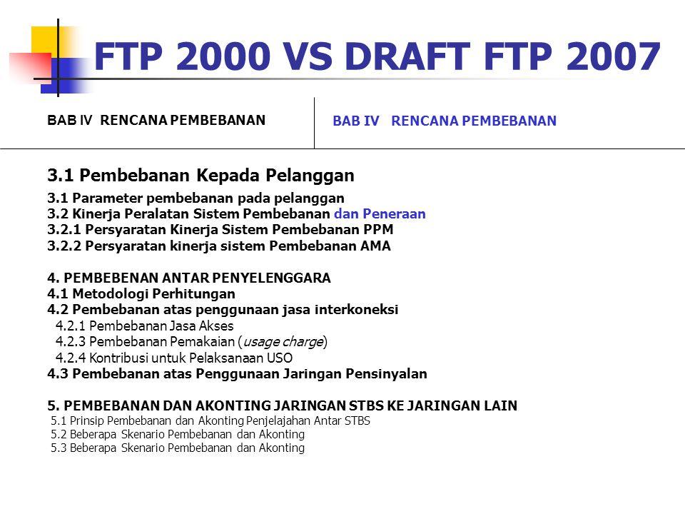 FTP 2000 VS DRAFT FTP 2007 3.1 Pembebanan Kepada Pelanggan