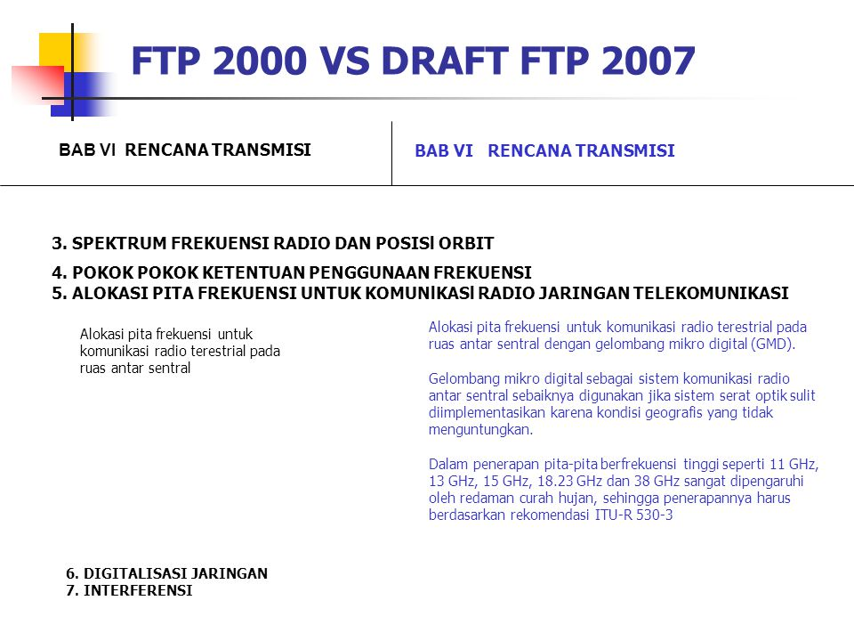 FTP 2000 VS DRAFT FTP 2007 BAB VI RENCANA TRANSMISI