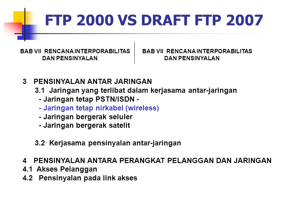 FTP 2000 VS DRAFT FTP 2007 PENSINYALAN ANTAR JARINGAN