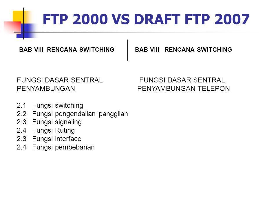 FTP 2000 VS DRAFT FTP 2007 FUNGSI DASAR SENTRAL PENYAMBUNGAN