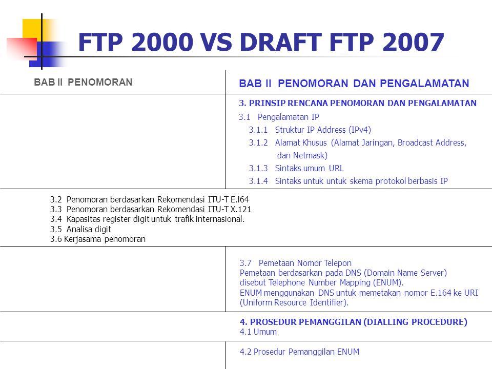 FTP 2000 VS DRAFT FTP 2007 BAB II PENOMORAN DAN PENGALAMATAN