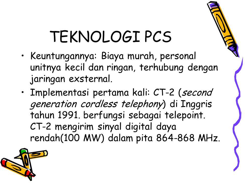 TEKNOLOGI PCS Keuntungannya: Biaya murah, personal unitnya kecil dan ringan, terhubung dengan jaringan exsternal.