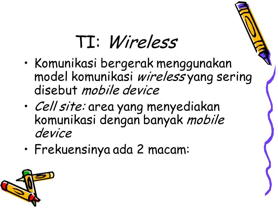 TI: Wireless Komunikasi bergerak menggunakan model komunikasi wireless yang sering disebut mobile device.