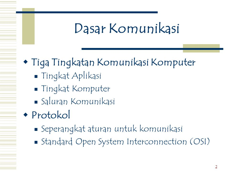Dasar Komunikasi Tiga Tingkatan Komunikasi Komputer Protokol
