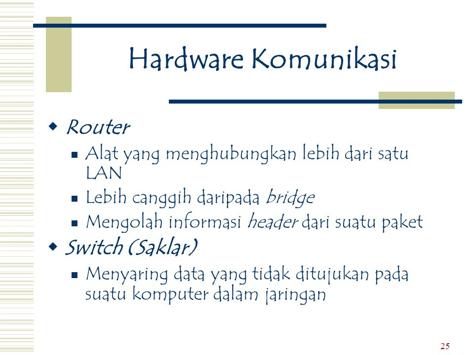 Hardware Komunikasi Router Switch (Saklar)