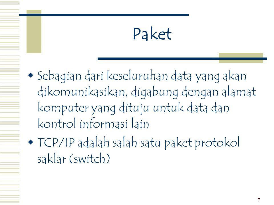 Paket Sebagian dari keseluruhan data yang akan dikomunikasikan, digabung dengan alamat komputer yang dituju untuk data dan kontrol informasi lain.