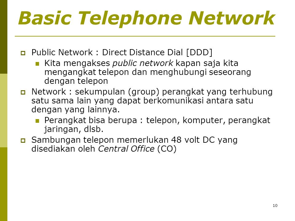 Basic Telephone Network