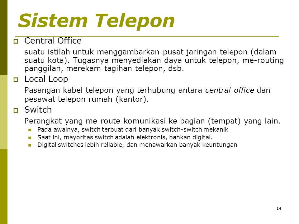 Sistem Telepon Central Office