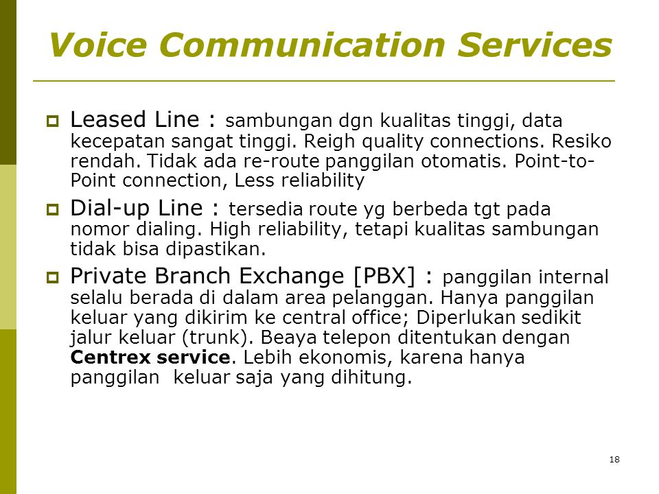 Voice Communication Services