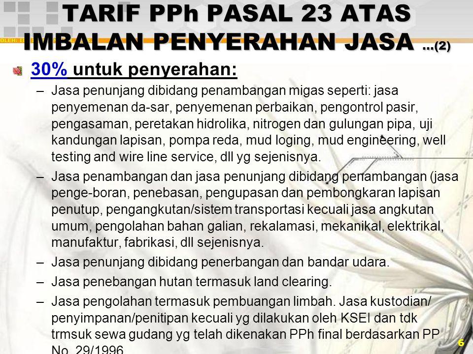 TARIF PPh PASAL 23 ATAS IMBALAN PENYERAHAN JASA …(2)
