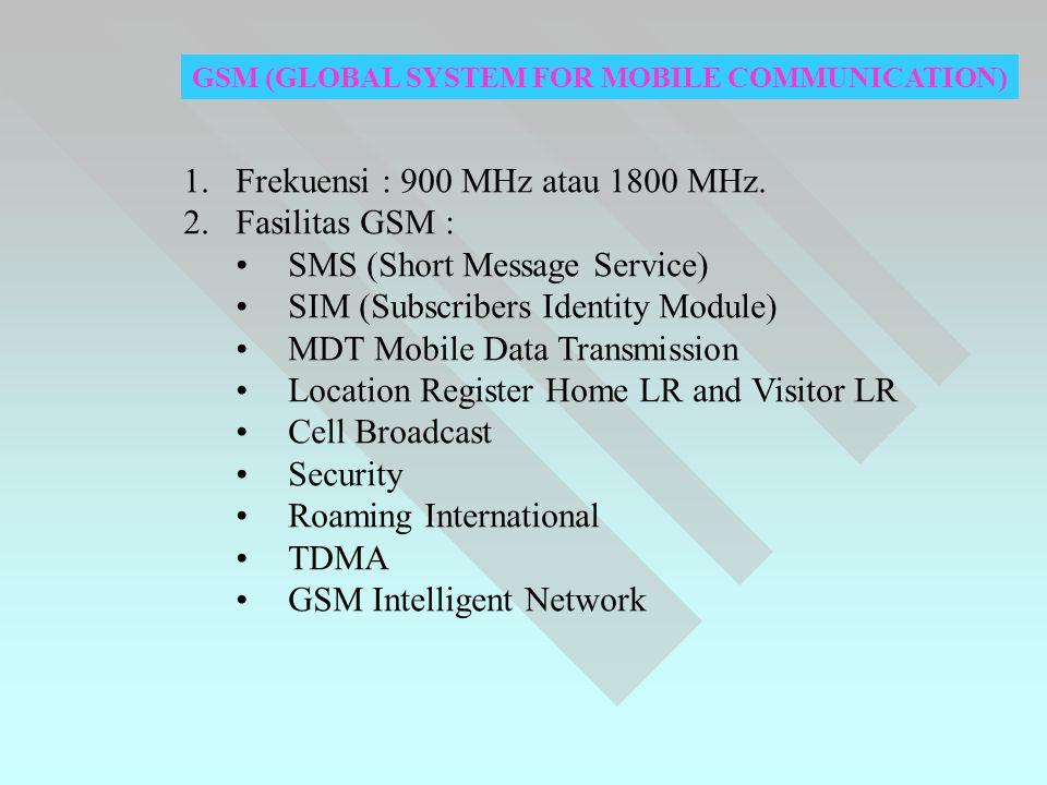 Frekuensi : 900 MHz atau 1800 MHz. Fasilitas GSM :