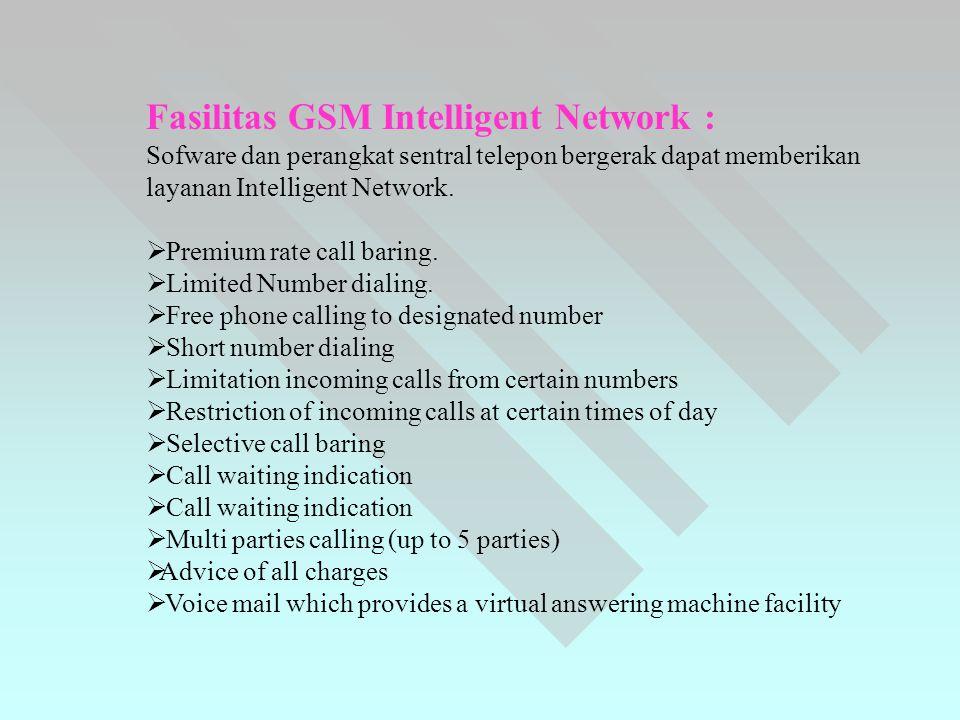 Fasilitas GSM Intelligent Network :
