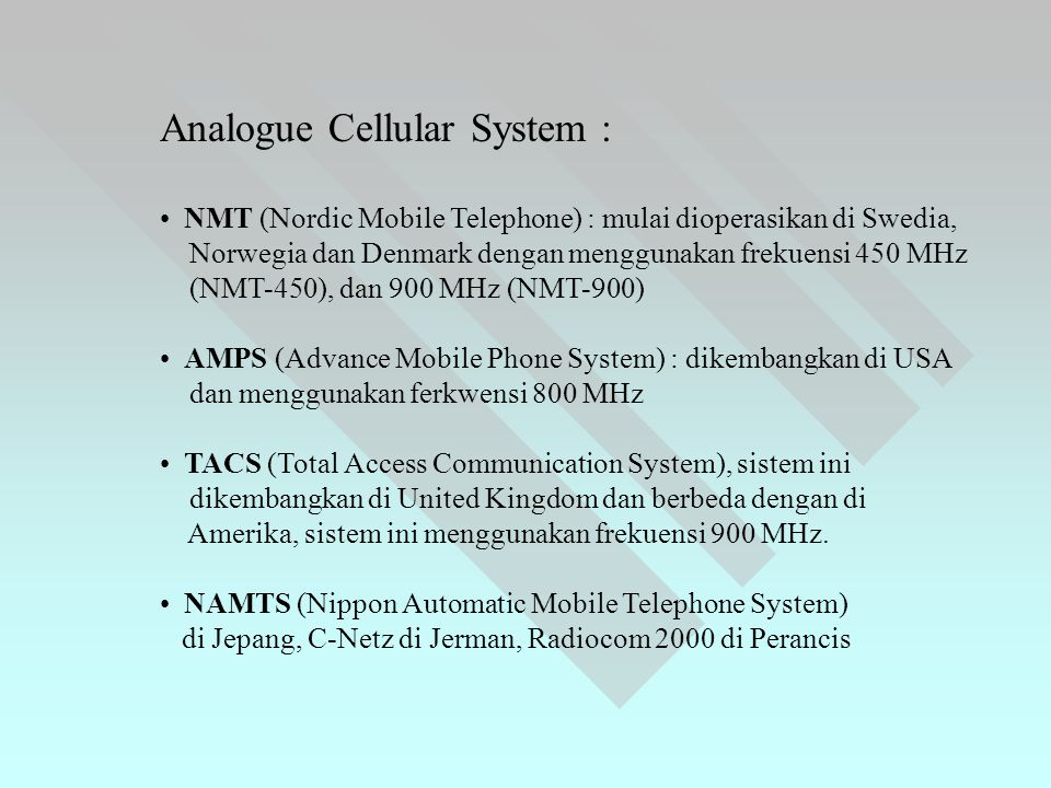 Analogue Cellular System :