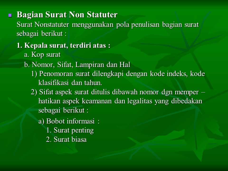 Bagian Surat Non Statuter