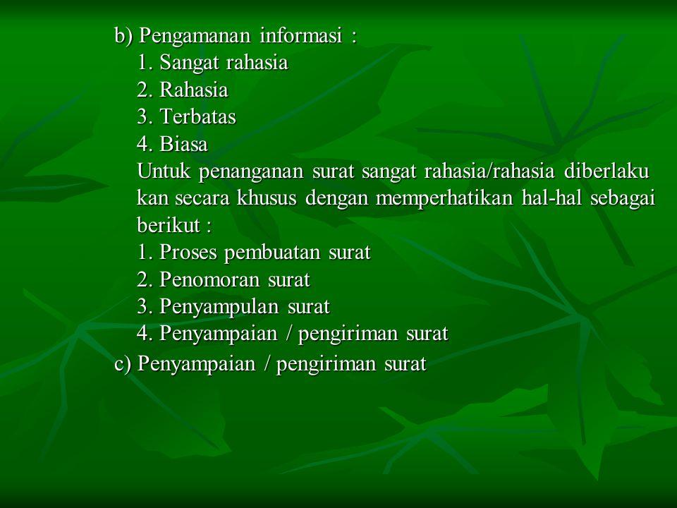 b) Pengamanan informasi :