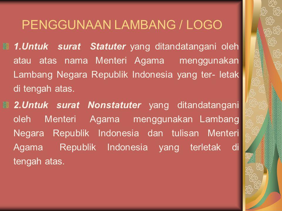 PENGGUNAAN LAMBANG / LOGO