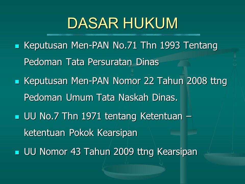 DASAR HUKUM Keputusan Men-PAN No.71 Thn 1993 Tentang Pedoman Tata Persuratan Dinas.