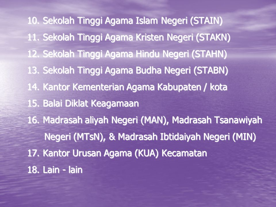 10. Sekolah Tinggi Agama Islam Negeri (STAIN)
