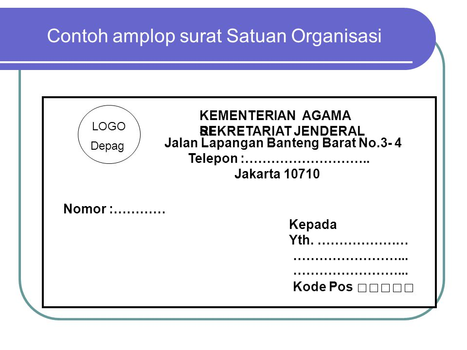 Contoh amplop surat Satuan Organisasi