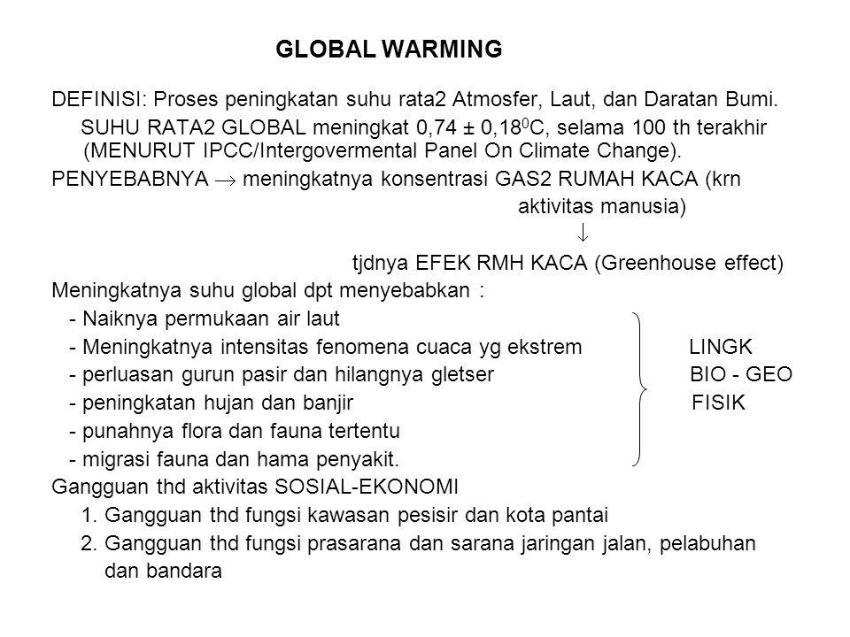 GLOBAL WARMING DEFINISI: Proses peningkatan suhu rata2 Atmosfer, Laut, dan Daratan Bumi.