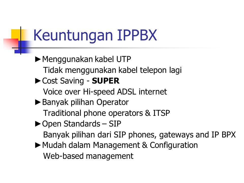 Keuntungan IPPBX ►Menggunakan kabel UTP