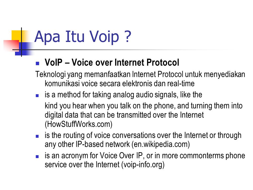 a description of voice over internet protocol voip and its use in modern era Voip is variously pronounced as an initialism, v-o-i-p, or as an acronym, usually /ˈvɔɪp/ (voyp), as in voice, but pronunciation in full words, voice over internet protocol, or voice over ip, is sometimes used protocols voice over ip has been implemented in various ways using both proprietary protocols and protocols based on open standards.