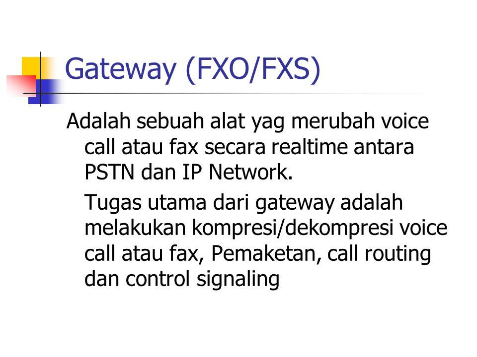 Gateway (FXO/FXS) Adalah sebuah alat yag merubah voice call atau fax secara realtime antara PSTN dan IP Network.