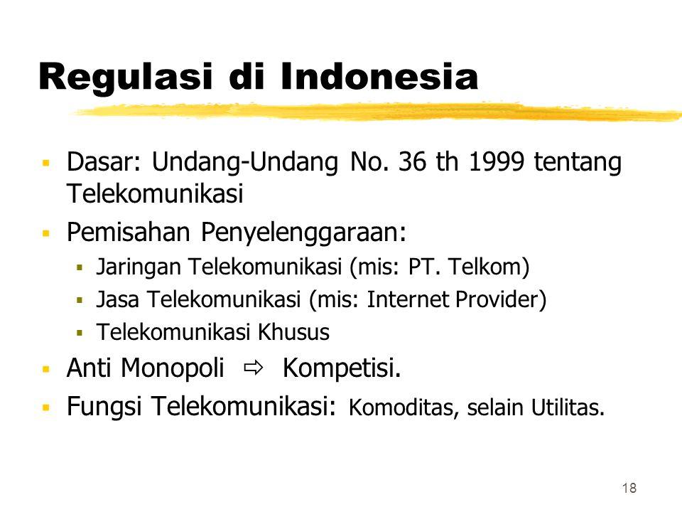 Regulasi di Indonesia Dasar: Undang-Undang No. 36 th 1999 tentang Telekomunikasi. Pemisahan Penyelenggaraan:
