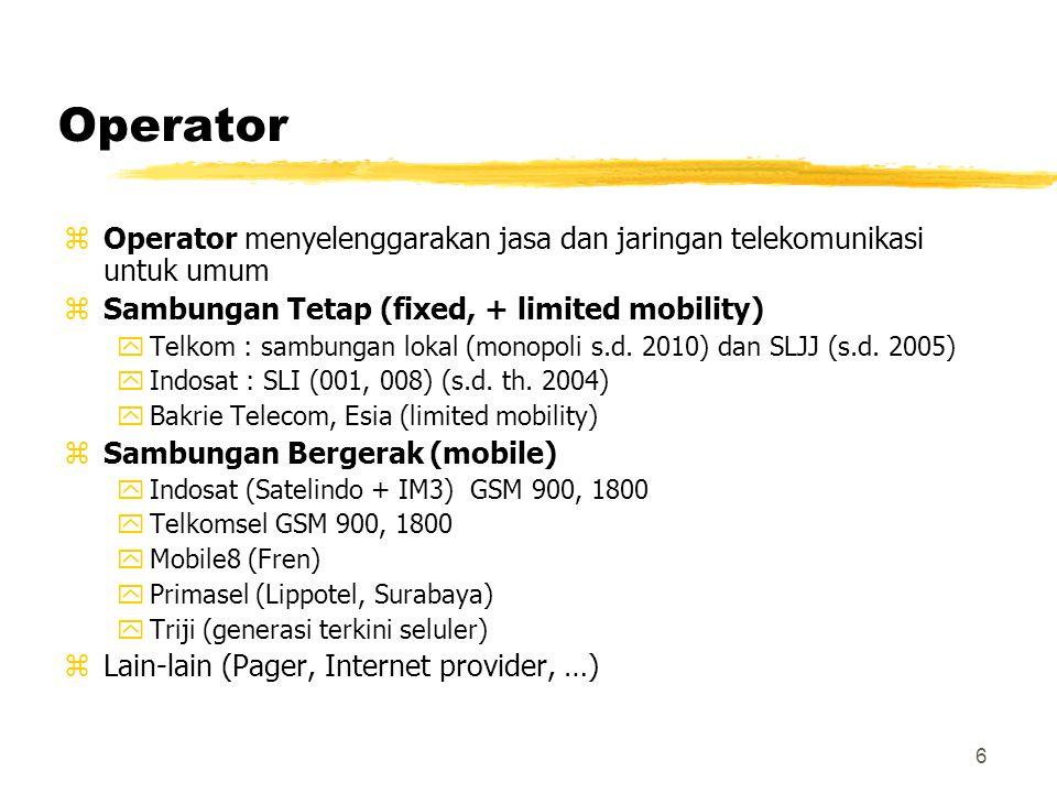 Operator Operator menyelenggarakan jasa dan jaringan telekomunikasi untuk umum. Sambungan Tetap (fixed, + limited mobility)